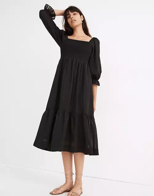 <p>This <span>Madewell Lucie Elbow-Sleeve Smocked Midi Dress</span> ($128) is what you'll find yourself reaching for when you're stumped on something to wear. It's a timeless essential.</p>