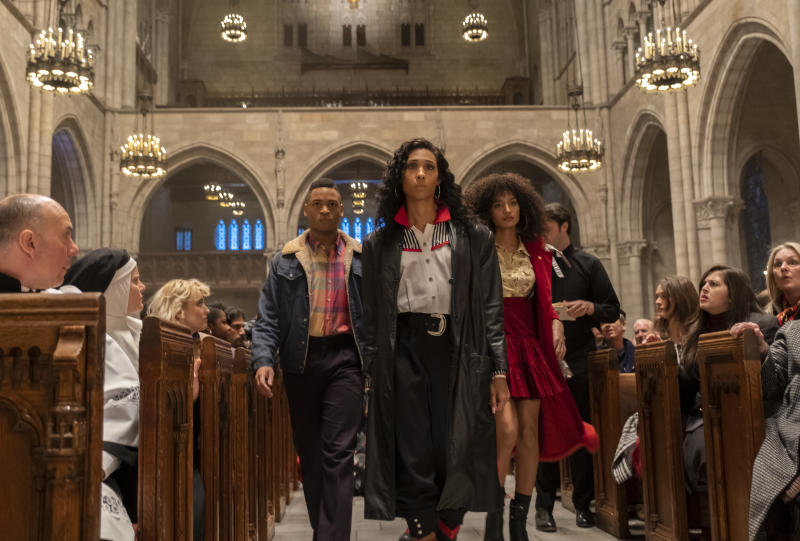 Ryan Jamaal Swain as Damon, Mj Rodriguez as Blanca and Indya Moore as Angel join the AIDS protest at St. Patrick's Cathedral in the Season 2 premiere of FX's 'Pose' (Macall Polay/FX)