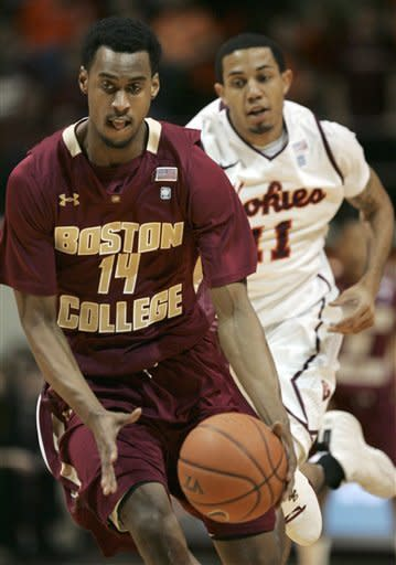 Boston College's Matt Humphrey, left, brings the ball after a steal from Virginia Tech's Erick Green, rear, during the first half of an NCAA college basketball game in Blacksburg, Va., Sunday, Feb. 12 2012. (AP Photo/The Roanoke Times, Matt Gentry)