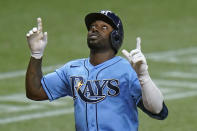 Tampa Bay Rays' Randy Arozarena celebrates his three-run home run off New York Yankees starting pitcher Michael King during the sixth inning of a baseball game Thursday, May 13, 2021, in St. Petersburg, Fla. (AP Photo/Chris O'Meara)