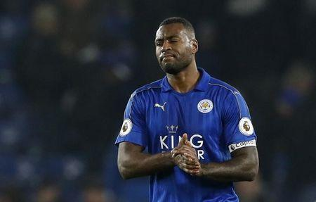 Leicester City's Wes Morgan looks dejected after the game