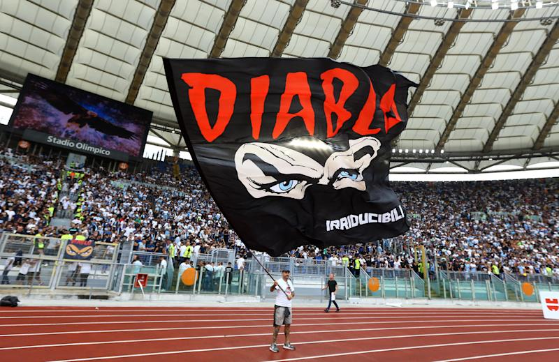 A banner of Lazio's ultras group Irriducibili in honour of their former leader Fabrizio Piscitelli known as Diabolik killed in a Rome park weeks ago. Serie A match AS Roma v SS Lazio at the Olimpico Stadium in Rome, Italy on September 1, 2019 (Photo by Matteo Ciambelli/NurPhoto via Getty Images)