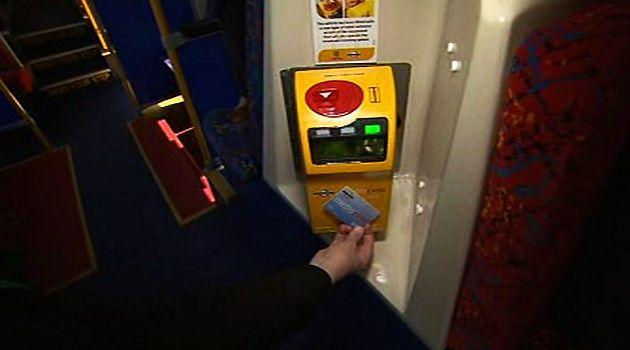 One of the new smartcard ticketing machines in an Adelaide Hills bus today.