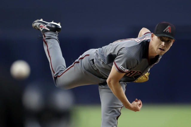 Arizona Diamondbacks starting pitcher Luke Weaver works against a San Diego Padres batter during the first inning of a baseball game Monday, May 20, 2019, in San Diego. (AP Photo/Gregory Bull)