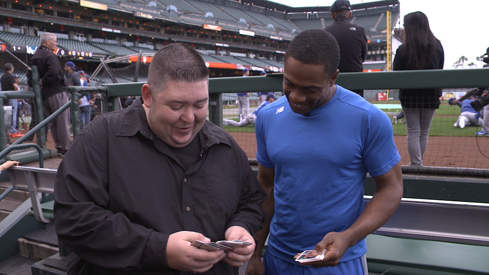"""Dodgers outfielder Curtis Granderson on """"25-Year-Old Baseball Cards."""" (Yahoo Sports)"""