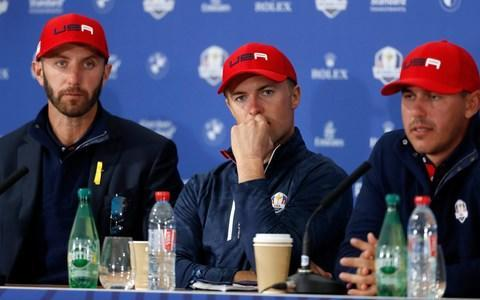 <span>Dustin Johnson (left) Jordan Spieth (centre) and Brooke Koepka (right) after the US's defeat</span> <span>Credit: ap </span>