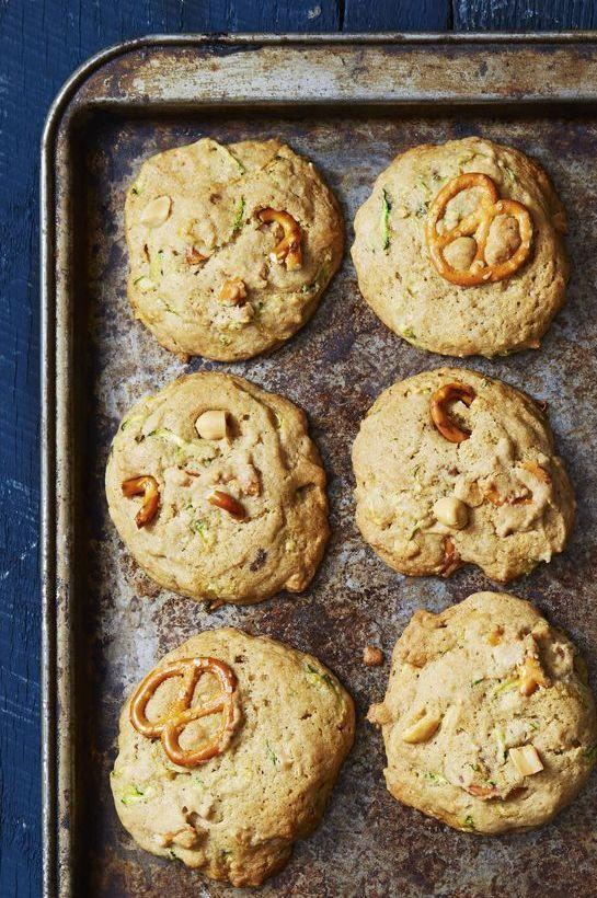 """<p>These easy cookies, stuffed with chopped pretzels, would be even better with leftover Halloween chocolates added to the batter!</p><p><em><a href=""""https://www.goodhousekeeping.com/food-recipes/dessert/a40394/sweet-salty-zucchini-bread-cookies-recipe/"""" rel=""""nofollow noopener"""" target=""""_blank"""" data-ylk=""""slk:Get the recipe for Sweet & Salty Zucchini Bread Cookies »"""" class=""""link rapid-noclick-resp"""">Get the recipe for Sweet & Salty Zucchini Bread Cookies »</a></em></p>"""