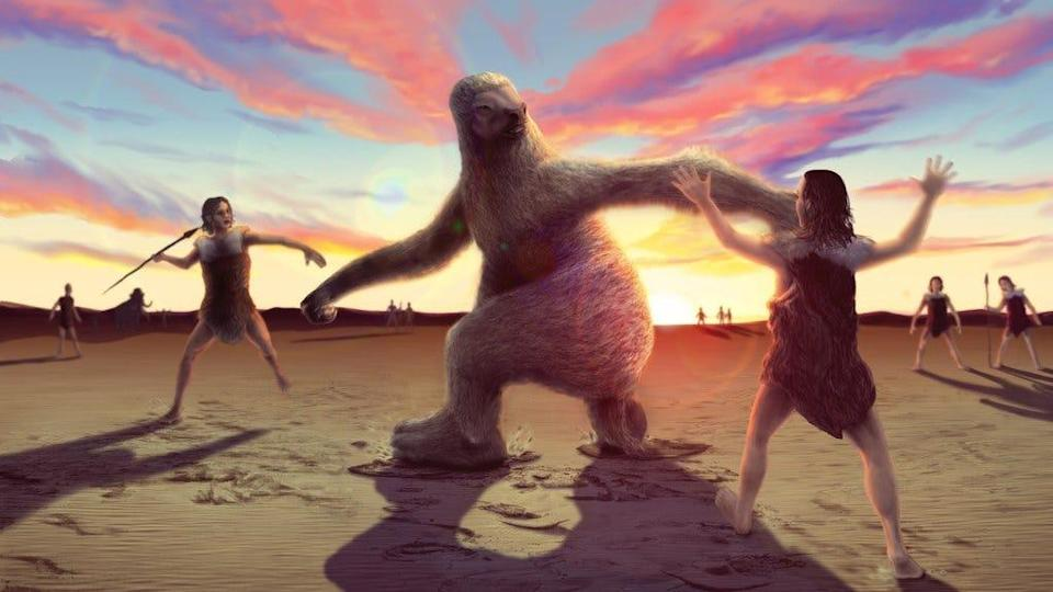 An artist's reconstruction, based on recently discovered footprints, of prehistoric humans in present-day New Mexico hunting a giant ground sloth.