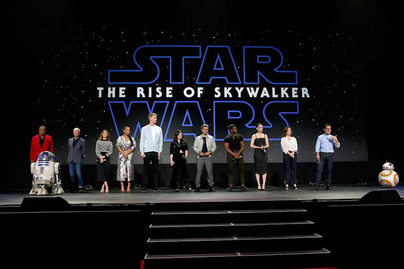 Billy Dee Williams (from left), Anthony Daniels, Keri Russell, Naomi Ackie, Joonas Suotamo, Kelly Marie Tran, Oscar Isaac, John Boyega, Daisy Ridley, Lucasfilm president Kathleen Kennedy and director/producer/writer J.J. Abrams of