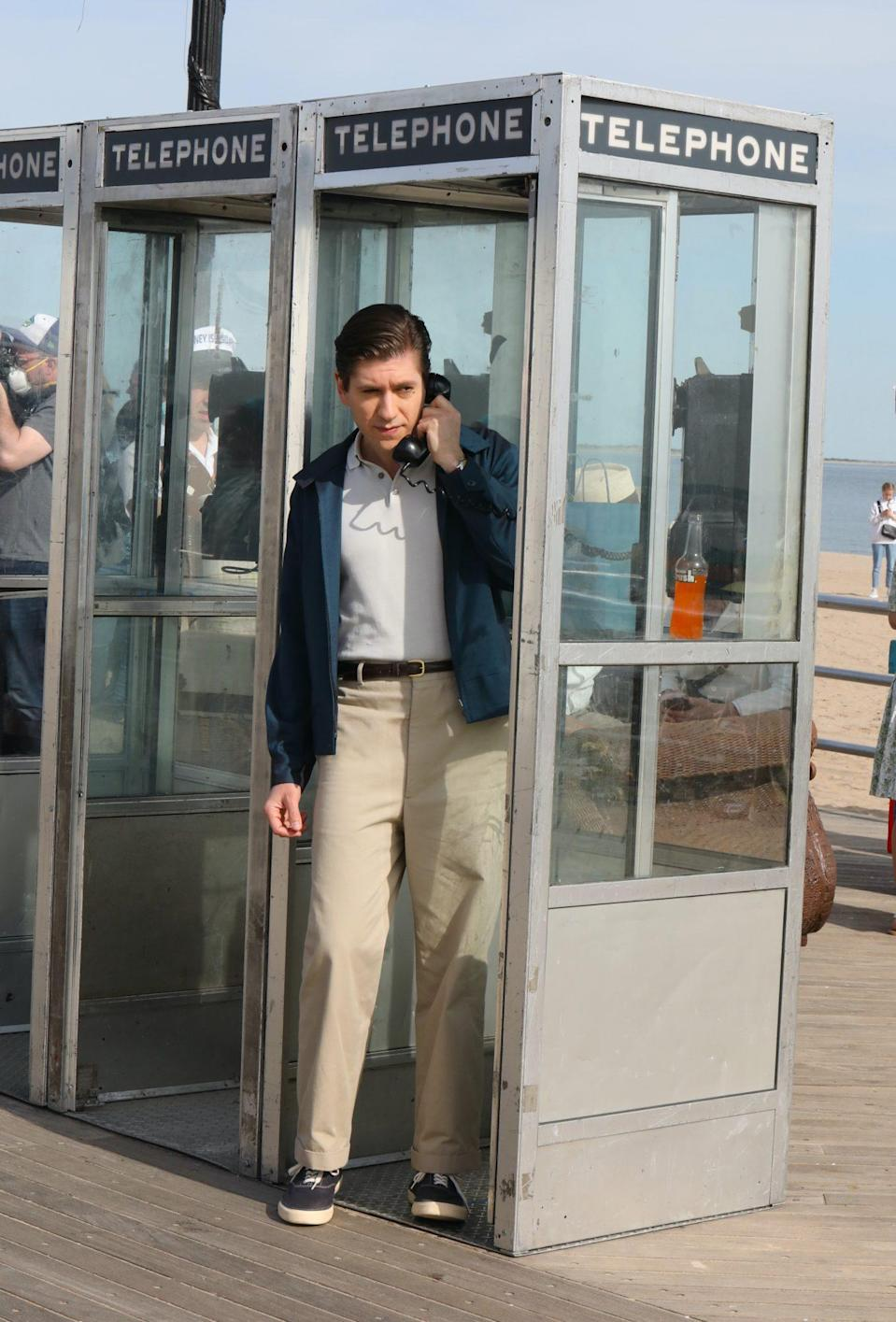 <p>Zegen popped into a vintage payphone booth while filming at Coney Island on May 7. </p>