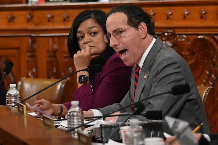 Rep. Pramila Jayapal, D-Wash., left, listens as Rep. Jamie Raskin, D-Md., speaks during the House Judiciary Committee markup of H.Res. 755, Articles of Impeachment Against President Donald J. Trump in Washington, DC on Dec. 12, 2019.