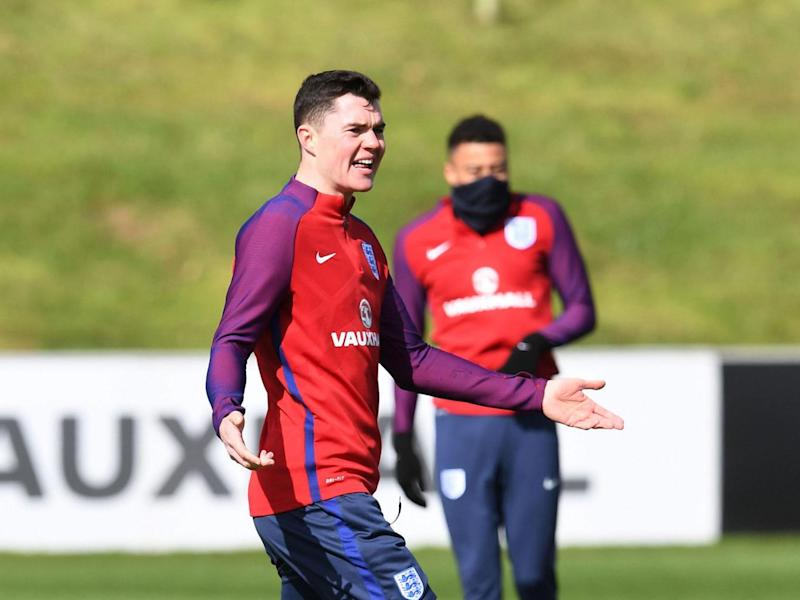England's defender Michael Keane takes part in a team training session at St George's Park (Getty)