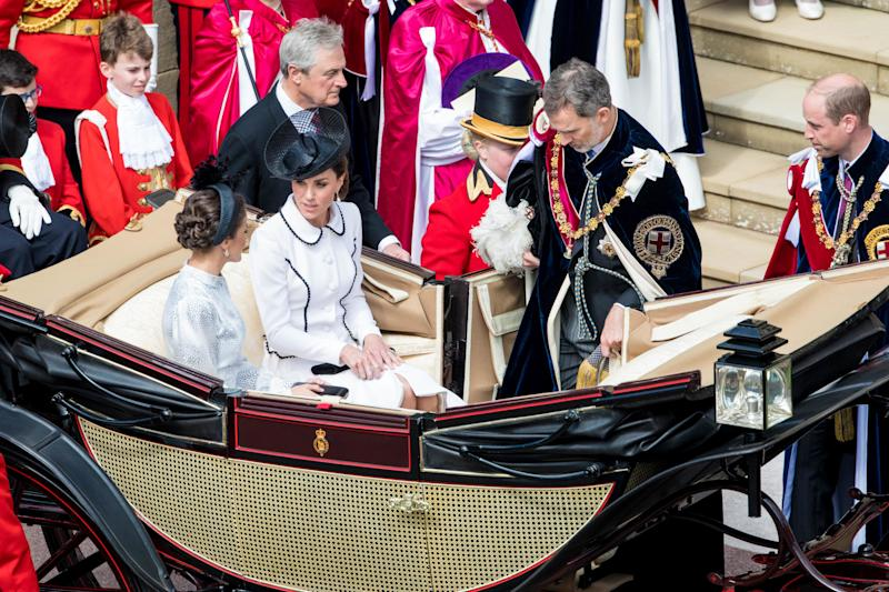 Prince William Duke of Cambridge, King Felipe VI of Spain, Queen Letizia of Spain, Catherine Duchess of Cambridge during Order of the Garter service, a service for the Most Noble Order of the Garter, at St George's Chapel in Windsor Castle, UK. (Photo by DPPA/Sipa USA)