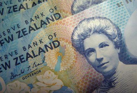 Reserve Bank of New Zealand dollar notes are pictured in Singapore