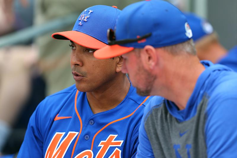 PORT ST. LUCIE, FL - MARCH 08: Manager Luis Rojas #19 of the New York Mets talks with pitching coach Jeremy Hefner #53 during a spring training baseball game against the Houston Astros at Clover Park on March 8, 2020 in Port St. Lucie, Florida. The Mets defeated the Astros 3-1. (Photo by Rich Schultz/Getty Images)