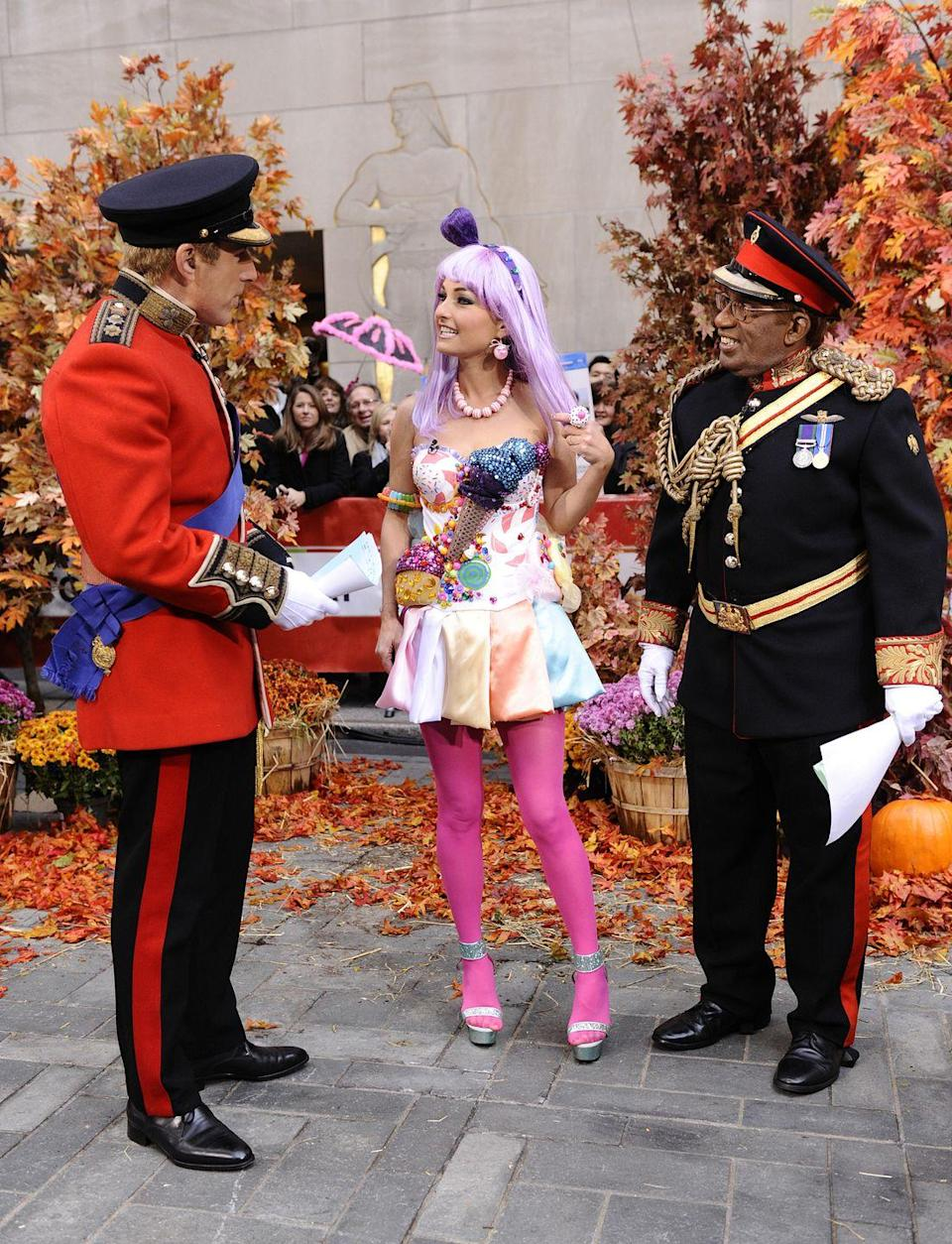 """<p>Matt Lauer as Prince William, Giada de Laurentiis as Katy Perry and Al Roker as Prince Harry appear on NBC News' """"Today"""" show<br><br>2011<br></p>"""