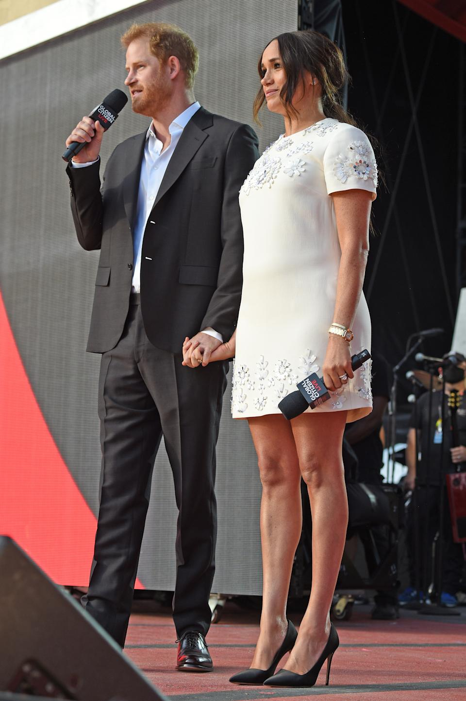 Prince Harry and Meghan Markle speak onstage during Global Citizen Live, New York on September 25, 2021 in New York City