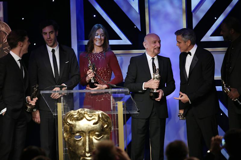 From left, honorees Benedict Cumberbatch, Sacha Baron Cohen, Kathryn Bigelow, Sir Ben Kingsley, George Clooney, and Idris Elba are seen onstage during the 2013 BAFTA Los Angeles Britannia Awards at the Beverly Hilton Hotel on Saturday, Nov. 9, 2013 in Beverly Hills, Calif. (Photo by Matt Sayles/Invision/AP)