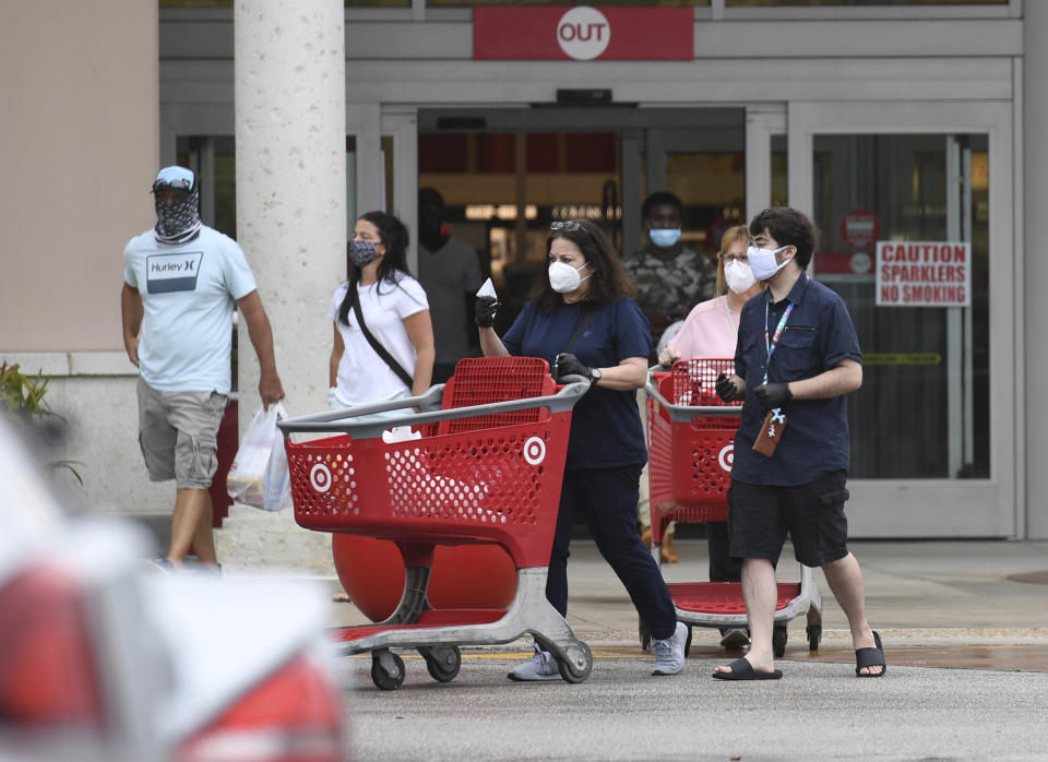 CORAL SPRINGS, FL - MAY 15: People are seen shopping at Target as Home Depot, Target and Walmart Face High Expectations on Earnings during the Coronavirus COVID-19 pandemic on May 15, 2020 in Coral Springs, Florida. Credit: mpi04/MediaPunch /IPX