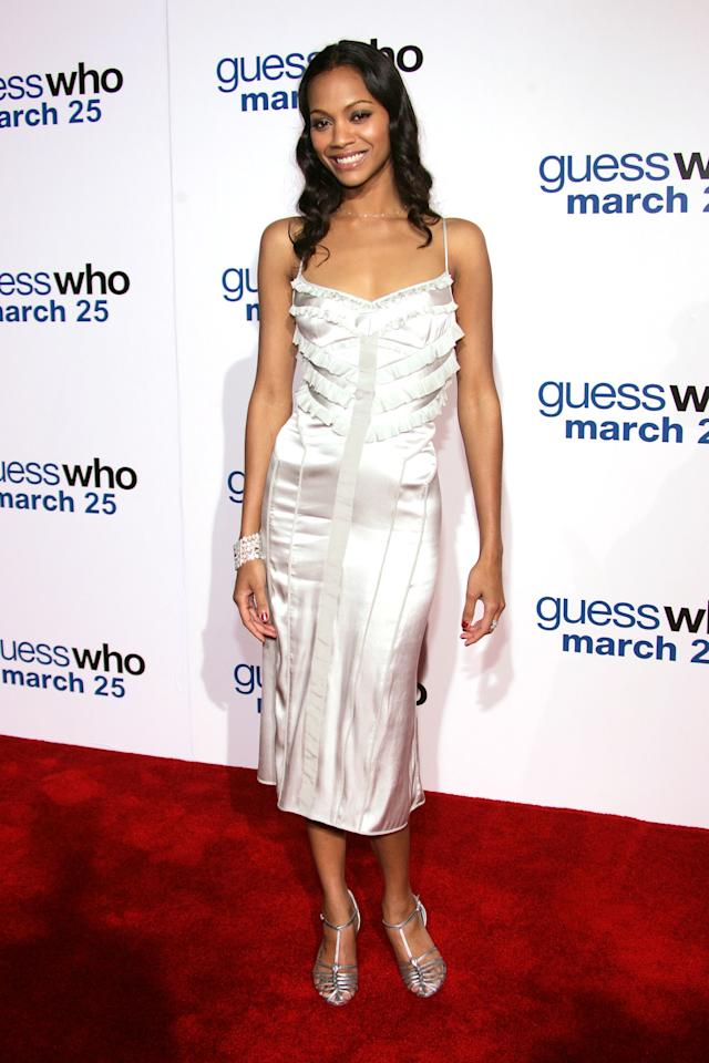 <p>Zoe Saldana at the premiere of <em>Guess Who</em> in Hollywood, California, March 2005.</p>