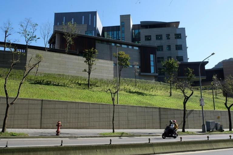 The American Institute in Taiwan building -- the de facto embassy in Taipei -- seen in January 2021