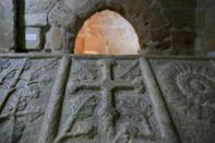 The cross of the Knights Templar engraved on the 14th century sarcophagus of Adam de Antiochia, Marshal of Cyprus on the site of a chapel at Limassol Castle