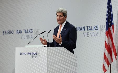 U.S. Secretary of State Kerry addresses the media during a news conference in Vienna