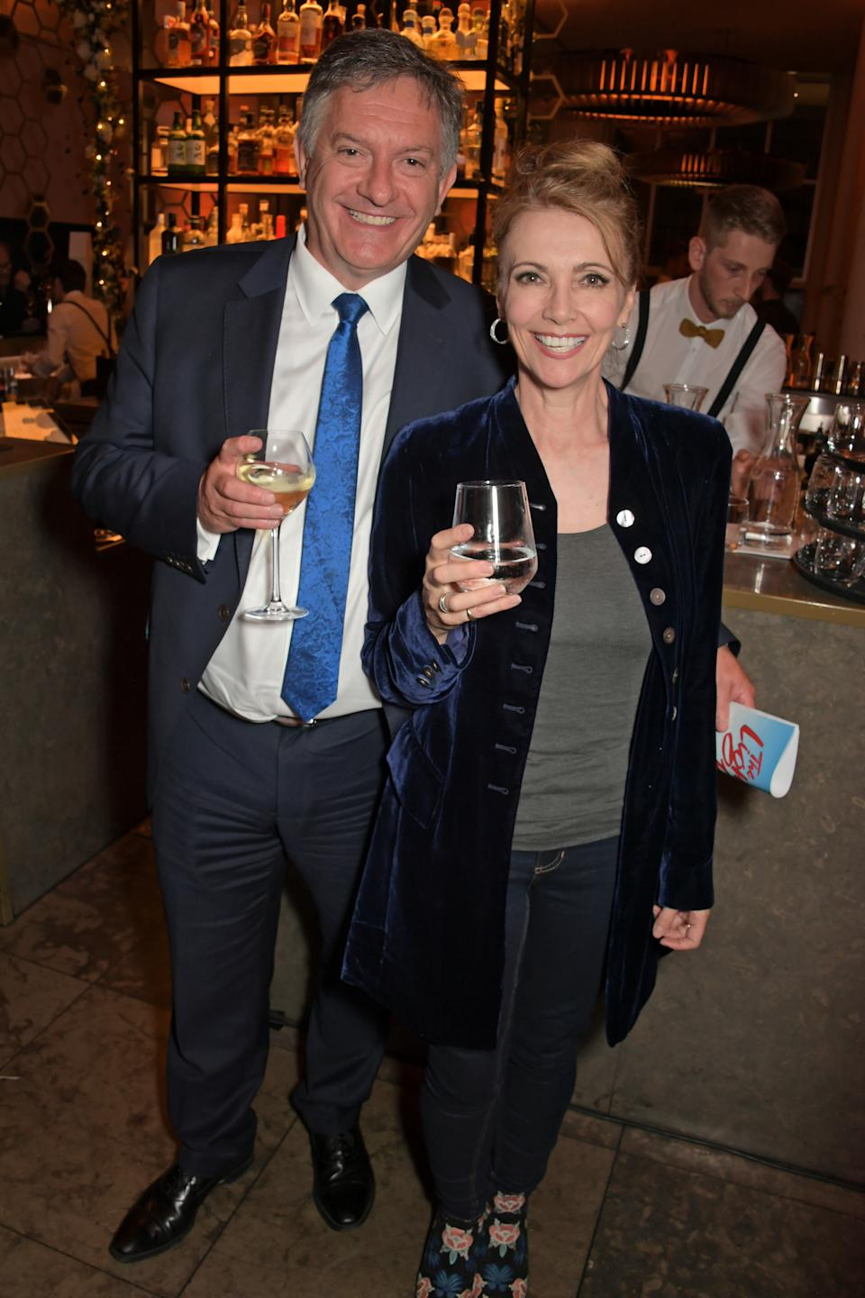 Simon McCoy and Emma Samms attend the press night after party for