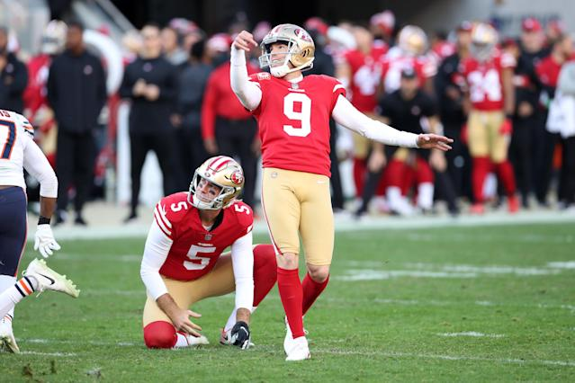 "<a class=""link rapid-noclick-resp"" href=""/nfl/players/7520/"" data-ylk=""slk:Robbie Gould"">Robbie Gould</a> could see his value rise tied to a potent San Fran offense. (Photo by Rob Leiter/Getty Images)"