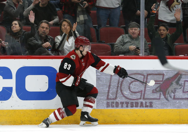 Arizona Coyotes right wing Conor Garland (83) celebrates after scoring a goal in the second period during an NHL hockey game against the Columbus Blue Jackets, Thursday, Feb. 7, 2019, in Glendale, Ariz. (AP Photo/Rick Scuteri)