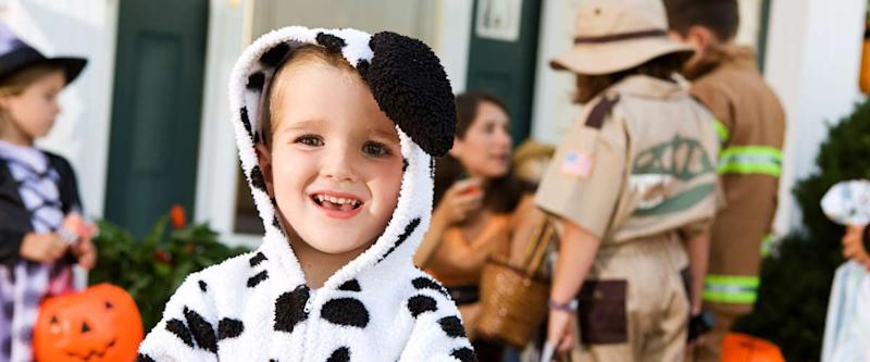 Halloween smiling boy in Dalmatian costume