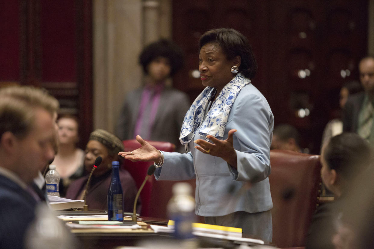 """New York Senate Majority Leader Andrea Stewart-Cousins, who has promised """"safeguards against future payroll company-caused crises,"""" seen during the last day of the New York legislative session, June 19, 2019. (Patrick Dodson/The New York Times)"""