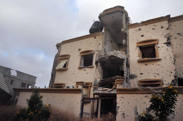 A damaged building located just west of Benghazi, Libya. (Photo: Mohammed el-Shaiky/AP)