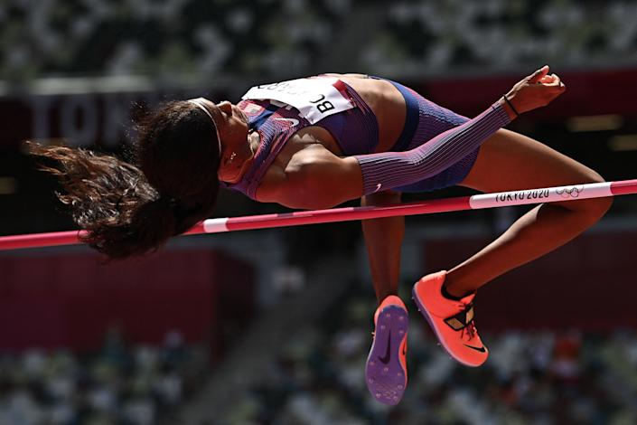 <p>USA's Erica Bougard competes in the women's heptathlon high jump during the Tokyo 2020 Olympic Games at the Olympic Stadium in Tokyo on August 4, 2021. (Photo by Ben STANSALL / AFP)</p>