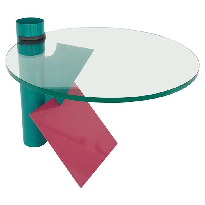 """$1800, 1stDibs. <a href=""""https://www.1stdibs.com/furniture/tables/side-tables/memphis-style-side-table-circa-1980s/id-f_1995412/"""" rel=""""nofollow noopener"""" target=""""_blank"""" data-ylk=""""slk:Get it now!"""" class=""""link rapid-noclick-resp"""">Get it now!</a>"""