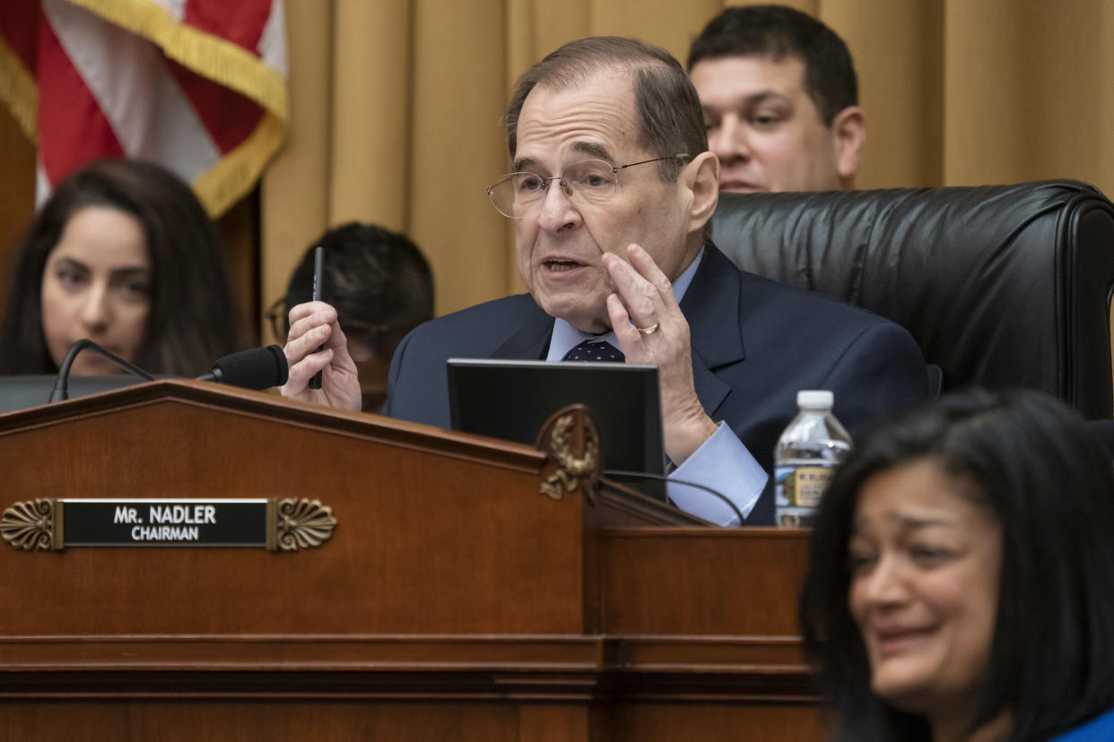 Judiciary Committee Chairman Jerrold Nadler, D-N.Y., responds after acting Attorney General Matthew Whitaker tells him that his five minutes for questions had expired. (Photo: J. Scott Applewhite/AP)