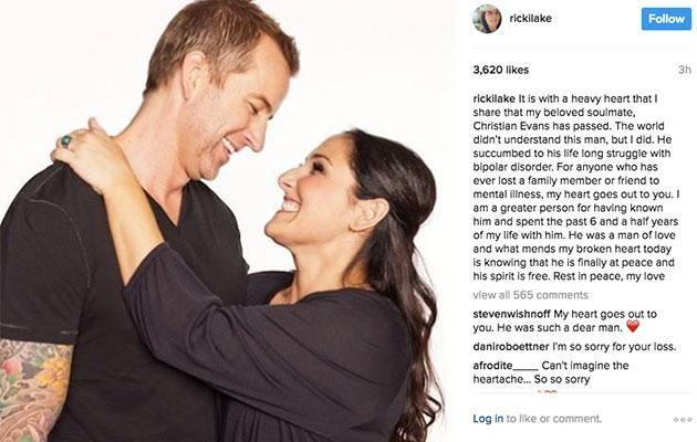 Ricki took to Instagram to report Christian's passing. Source: Instagram