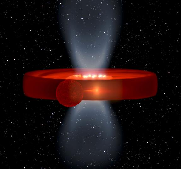This image is a simulation of the X-ray binary system Swift J1357.2-0933, a black hole and star system, in which the effect of a strange, vertical mystery structure are at their maximum.