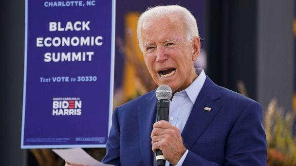 PHOTO: Democratic presidential nominee Joe Biden speaks at an outdoor 'Black Economic Summit' while campaigning for president in Charlotte, N.C., Sept. 23, 2020. (Kevin Lamarque/Reuters)