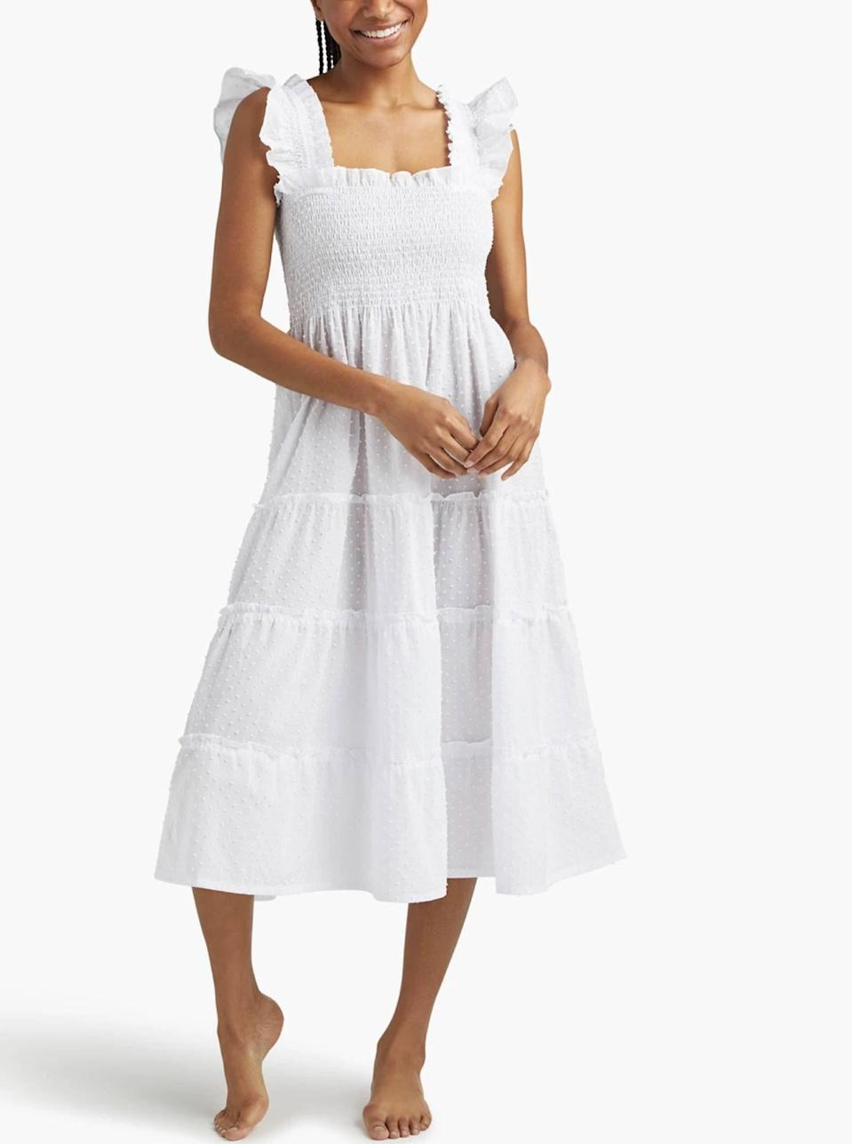 """$125, Hill House Home. <a href=""""https://www.hillhousehome.com/products/the-ellie-nap-dress-white-swiss-dot?"""" rel=""""nofollow noopener"""" target=""""_blank"""" data-ylk=""""slk:Get it now!"""" class=""""link rapid-noclick-resp"""">Get it now!</a>"""
