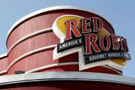 FILE PHOTO: The sign of a Red Robin restaurant is pictured in Foxboro