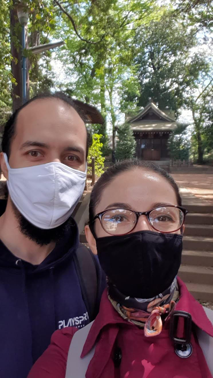 Brazilian Kurt Daniger and his Romanian wife Norica, pictured outside the temple in their suburb outside Tokyo, where they moved in October 2019, months before the outbreak of the pandemicKurt Daniger