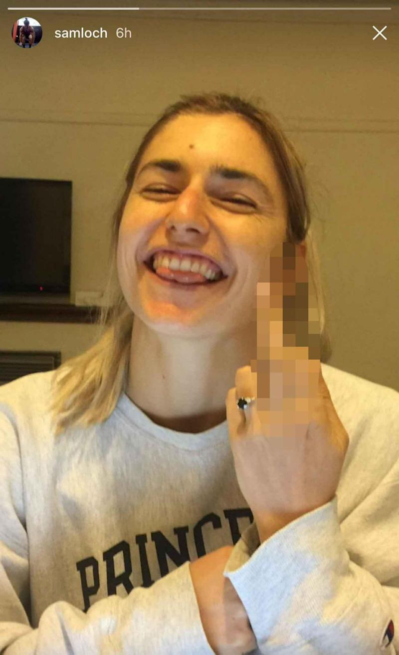 Frances Abbott showed off her engagement ring on Sam's Instagram while giving a cheeky middle finger to the camera. Source: Instagram
