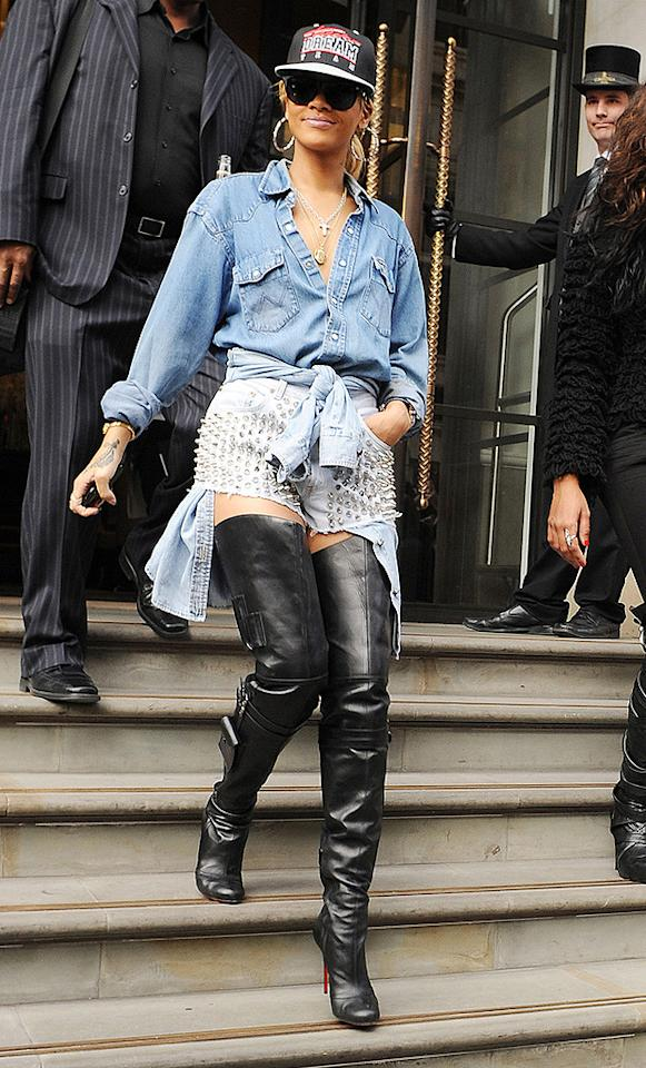 A day later, RiRi stuck out in another RiRidiculous getup, which consisted of a flat-brimmed baseball hat, baggy denim top, studded Daisy Dukes, and thigh-high leather Louboutins. Which of her looks was lousiest?
