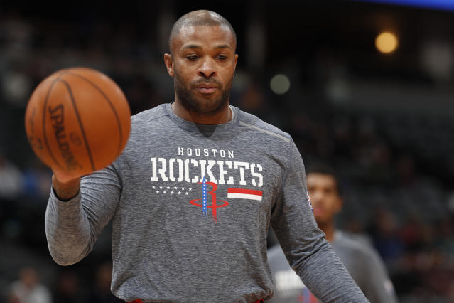 P.J. Tucker wants to start talking extension now. (AP Photo/David Zalubowski)