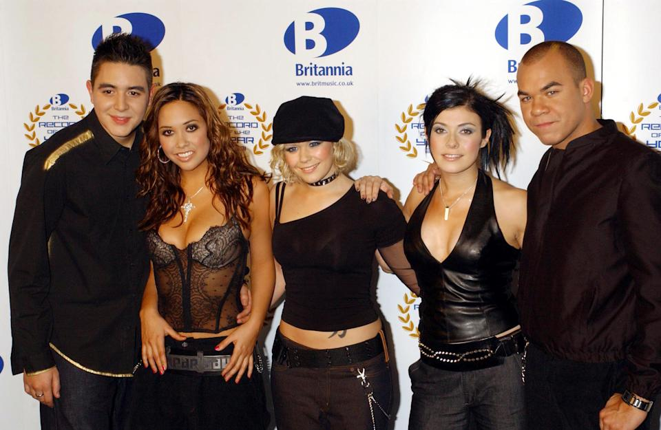 Hear'Say, (from left) Noel Sullivan, Myleene Klass, Suzanne Shaw, Kym Marsh and Danny Foster whose record 'Pure and Simple' is nominated, at The Record of the Year award, at London Television Studios, London. * 24/1/02: Hear'Say vowed to carry on as a band as they finally admitted that Kym Marsh had quit.  The singer and mum of two bowed out from the quintet - manufactured by ITV's Popstars series - after internal friction.   (Photo by Yui Mok - PA Images/PA Images via Getty Images)