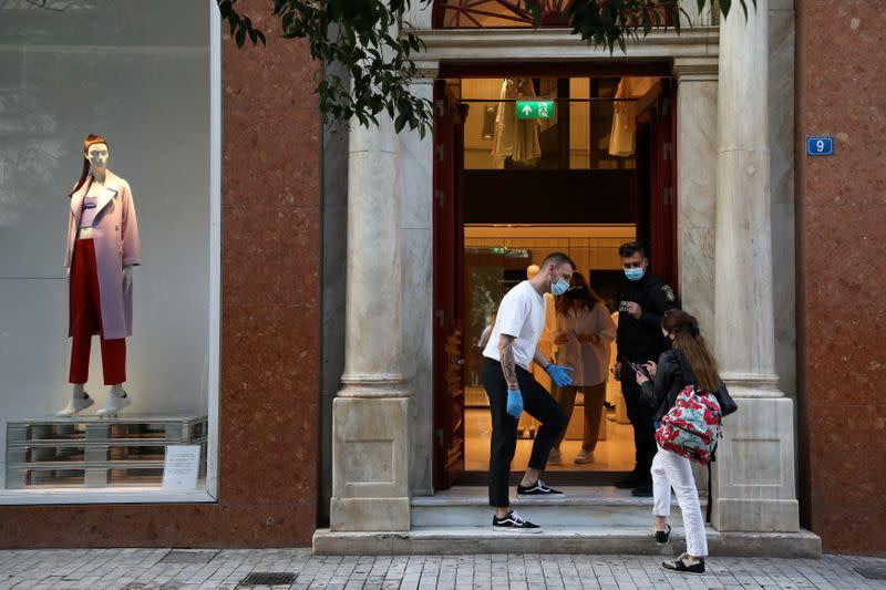 Shops reopen amid the coronavirus disease (COVID-19) pandemic, in Athens