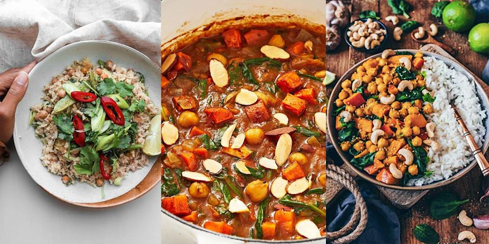"<p>We're obsessed with the variety of ingredients you can use in these vegan <a href=""https://www.delish.com/uk/cooking/recipes/g33455599/best-curry-recipes/"" rel=""nofollow noopener"" target=""_blank"" data-ylk=""slk:curry"" class=""link rapid-noclick-resp"">curry</a> recipes. We're talking chickpeas, sweet potatoes, lentils and more! You can pack as many veggies as you want to create vibrant, plant-based curry dishes, with everything from <a href=""https://www.delish.com/uk/cooking/recipes/a29782603/sweet-potato-chickpea-curry/"" rel=""nofollow noopener"" target=""_blank"" data-ylk=""slk:Sweet Potato and Chickpea Curry"" class=""link rapid-noclick-resp"">Sweet Potato and Chickpea Curry</a> to <a href=""https://www.delish.com/uk/cooking/recipes/a29943535/vegan-thai-green-curry/"" rel=""nofollow noopener"" target=""_blank"" data-ylk=""slk:Vegan Thai Green Curry"" class=""link rapid-noclick-resp"">Vegan Thai Green Curry</a>. Looking for some vegan inspiration? Check out our top 10 vegan curry recipes (you won't be disappointed). </p>"