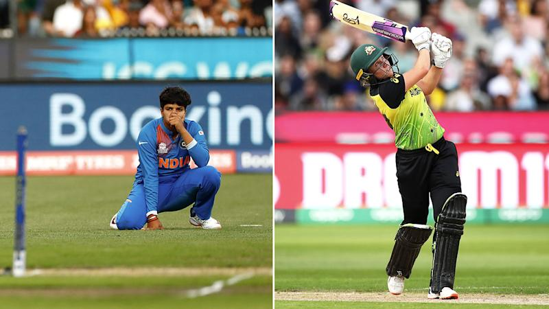 Pictured right, Alyssa Healy was dropped in the first over on just nine runs.