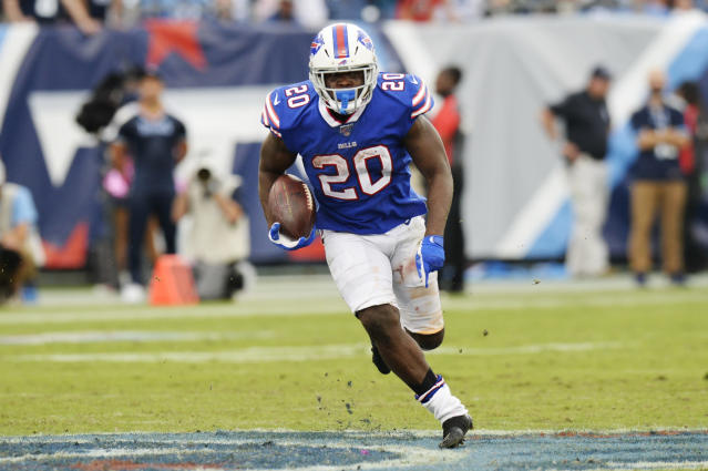 Buffalo Bills running back Frank Gore carries the ball against the Tennessee Titans in the second half of an NFL football game Sunday, Oct. 6, 2019, in Nashville, Tenn. (AP Photo/Mark Zaleski)